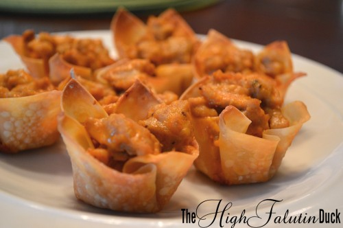 Buffalo Chicken Sausage Wonton cups