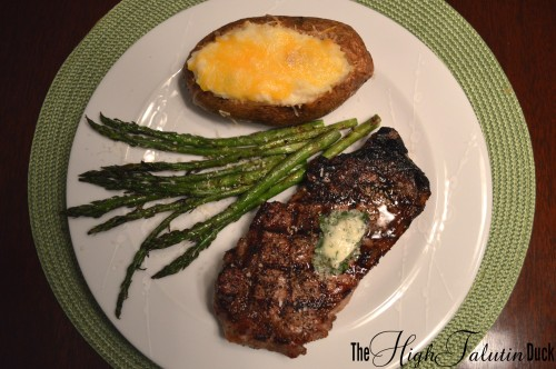 Twice Baked Potatoes, NY Strip, Asparagus