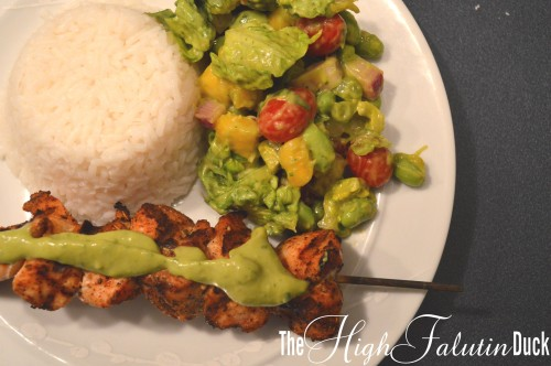 Avocado Salad with Grilled Chicken Kabob
