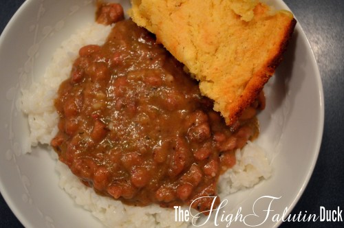 Red Beans Over Rice with Corn Bread